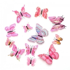 12Pcs/Pack 3D Wall Double Layer Solid Pink Butterfly Fake Butterfly  Living Room pink one size