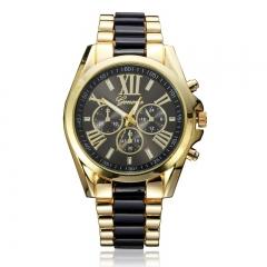 Unisex Luxury Brand Watches Geneva Quartz Analog Wristwatch Golden Band Roman Numerals Dial Watch black