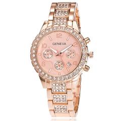 Hot Promotion Geneva Bling Crystal Unisex Alloy Quartz Wrist Watch Unique Watches Date silver
