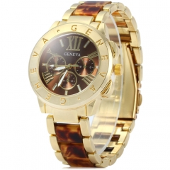 Unisex Geneva Quartz Watch Men Women leopard grain Ladies Clock Men Metal Men's Watches blue
