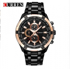 CURREN full stainless steel Watch Men Business Casual quartz Watches Military Wristwatch waterproof gold+black white