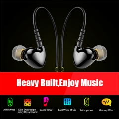 Bass Sport Earphone Waterproof Music In-ear Headphone with Line control & Mic for Phone Computer black