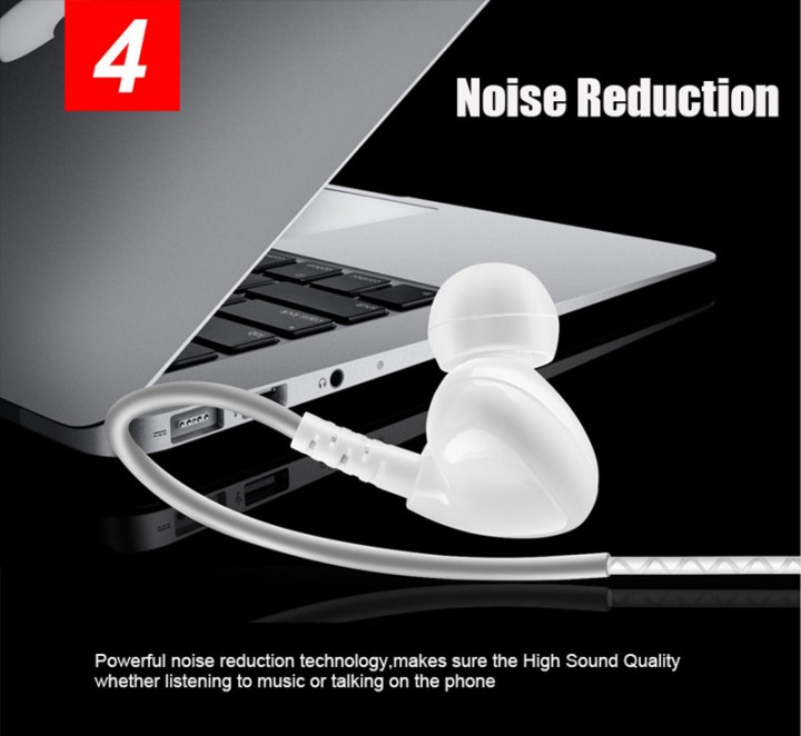 Bass Sport Earphone Waterproof Music In-ear Headphone with Line control & Mic for Phone Computer white