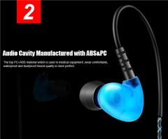 Bass Sport Earphone Waterproof Music In-ear Headphone with Line control & Mic for Phone Computer blue