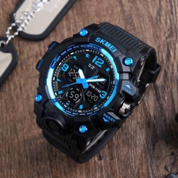 SKMEI Fashion Men's Quartz Digital Watch Men Sports Watches LED Military Waterproof Wristwatch blue