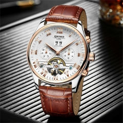 Luxury Brand Skeleton Tourbillon Mechanical Watch Automatic Men Classic Stainless Steel Wristwatches brown