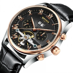 Luxury Brand Skeleton Tourbillon Mechanical Watch Automatic Men Classic Stainless Steel Wristwatches black