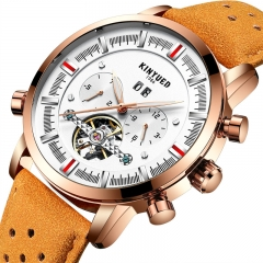 Men Top Brand Mechanical Watches Luxury Perpetual Tourbillon Automatic Waterproof Wrist Watch brown&white