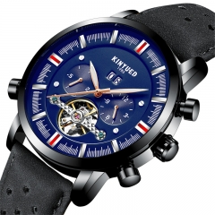 Men Top Brand Mechanical Watches Luxury Perpetual Tourbillon Automatic Waterproof Wrist Watch black&blue