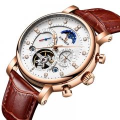 KINYUED Men Automatic Mechanical Watch Moonphase Tourbillon Skeleton Calendar Waterproof Wristwatch gold&white