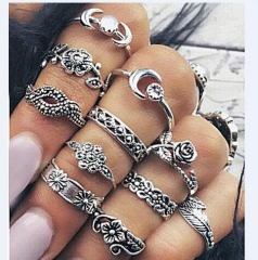 Retro Rose Bougainvillea Flower Trees Totem 11 Set Set Rings ancient silver free size