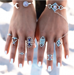 Fashion Wild Arrows Diamond Triangle Joints 8 Set Rings ancient silver free size