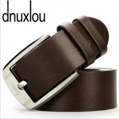 Business Leisure Wide PU Faux Leather Belt Men Designer Belts Elegant Shining Metal Buckle 125cm brown