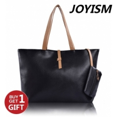 Joyism High Capacity Handbag Fashion Buckle Shoulder bag. One large and one small black f