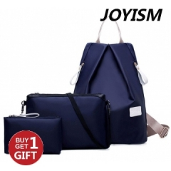 Joyism New Fashion Women 3pcs Solid Color Nylon Handbag Tote Portable Backpack blue f