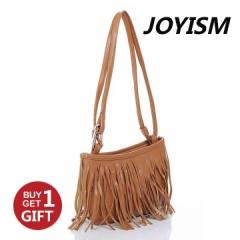 Joyism Retro Engraving and Tassel Design Women Shoulder Bag. Crossbody Bags brown f