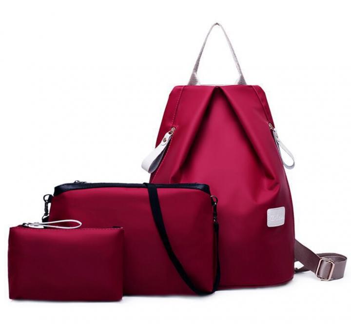 Joyism New Fashion Women 3pcs Solid Color Nylon Handbag Tote Portable Backpack red f