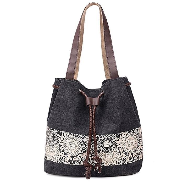 Joyism Printing Canvas Shoulder Bag Retro Casual Handbags Messenger Bag black f
