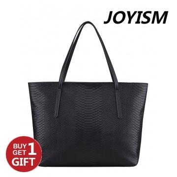 Joyism Snakeskin Pattern Handbag Luxury Leather Portable Shoulder Tote Bag black f