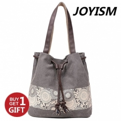 Joyism Printing Canvas Shoulder Bag Retro Casual Handbags Messenger Bag gray f