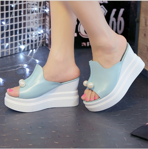c7d6b3c7e733 Designer Women Summer Sandals Thick Heel Platform Wedges Sexy Beading  Slippers Blue 9  Product No  112738. Item specifics  Brand