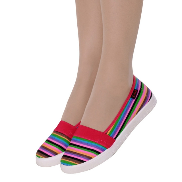 20dc30a9c05 Spring Women Loafers Soft Rainbow Stripe Slip On Flats For 2017 Summer  Style Canvas Shoes Woman 01 US9.5  Product No  114142. Item specifics   Brand