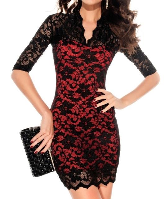 67452256370023 Vrouwen mini lace dress slim sexy dames V-hals 3 4 Mouwen Party Jurken