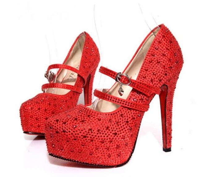 8ded281e62f Hoge hakken trouwschoenen lady crystal platforms strass bruids schoenen  dunne hak partij red 11