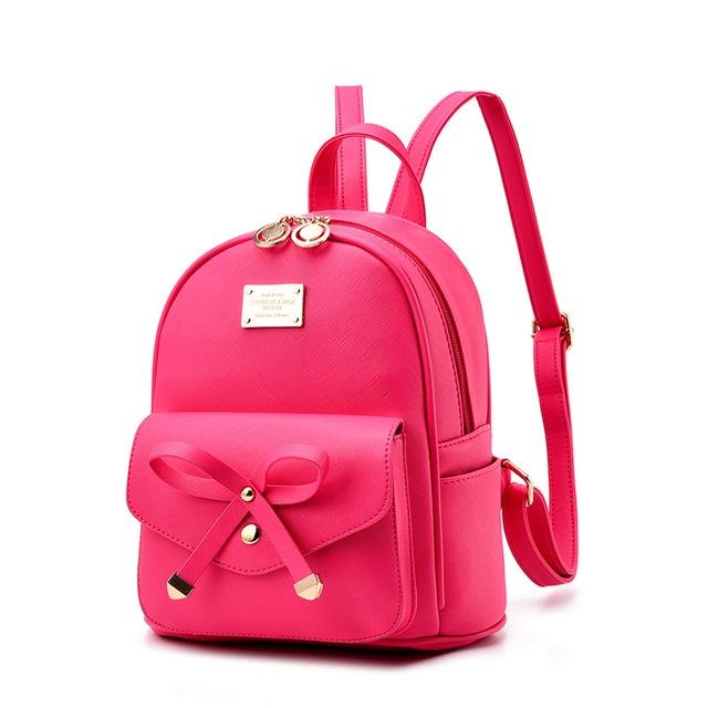 41d85d3ccfb Vrouwen Rugzak PU Leer Dame Backbags Schooltassen Voor Tiener Meisjes  backpack hot pink #01