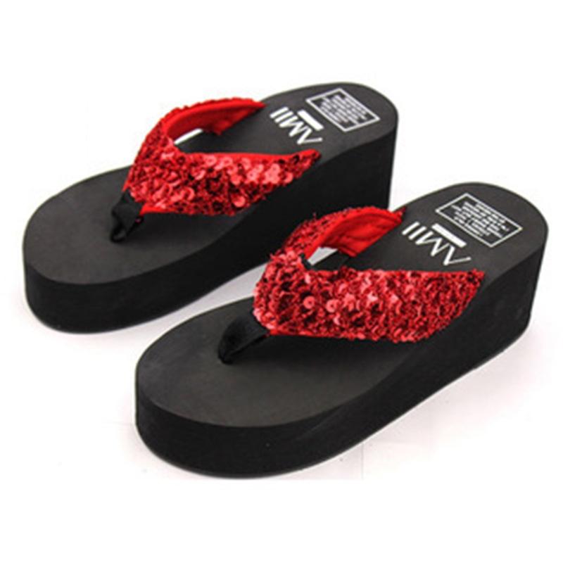 0b4bdaffcc71 Soild Woman Wedge Platform Flip Flops Shoes High Heels Beach Sandals ...