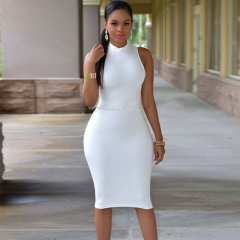new sleeveless sexy women knee-length dress white m