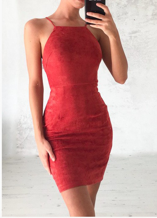 45e2b157f 2017 Women Dresses Series Fashion Hollow Out Dress Sexy Camisole package  hip dress Red xl