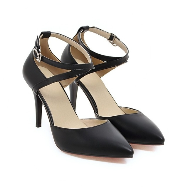 5f20c8b3fb08be High Heels Pumps Buckle Strap Sexy Thin High Heels Two Piece Heels Pointed  Toe Fashion Ladies Shoes black 4  Product No  114968. Item specifics  Brand