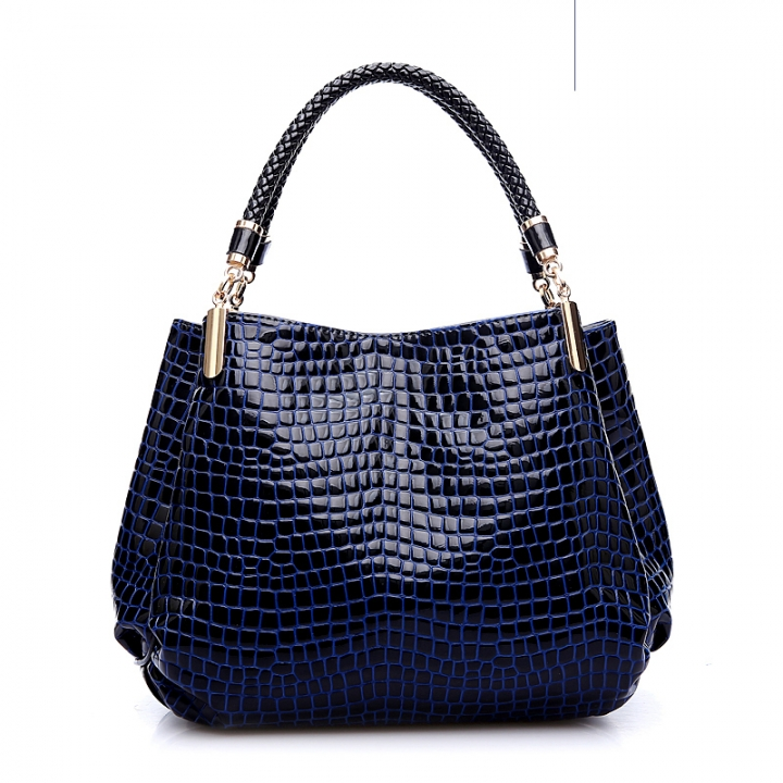 5a9671f4d0 2017 Alligator Leather Women Handbag Bolsas De Couro Fashion Famous Brands Shoulder  Bag dark blue