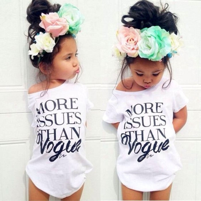 d860e0f5e57c0 2017 New Kids Baby Girls Summer Fashion Cotton Short sleeve T-shirt Tops  Clothes white 7T