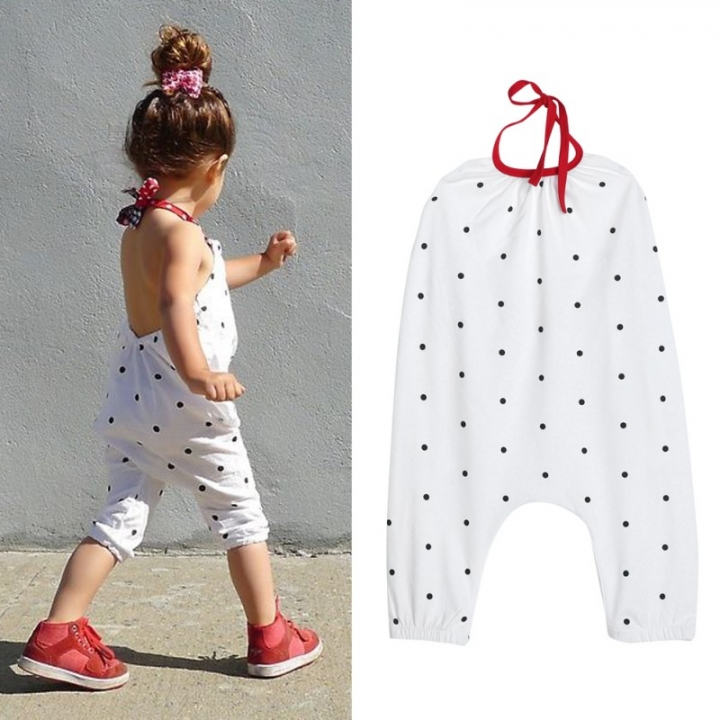 f7a4885a8af Children Girls Rompers Fashion Girl Halter Jumpsuit Kids White Cute Polka  Dot Printed One Piece Suit