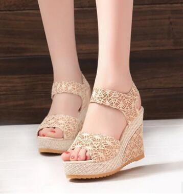 f647b23ff23428 Women Sandals 2017 Summer New Open Toe Fish Head Fashion platform High  Heels Wedge Sandals beige 6  Product No  133314. Item specifics  Brand