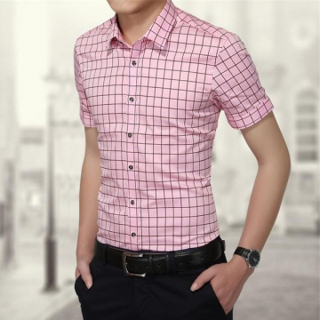 Short Sleeve Shirt Men Fashion Plaid Shirts Cotton Slim Mens Dress Shirts Brand-clothing pink 5xl