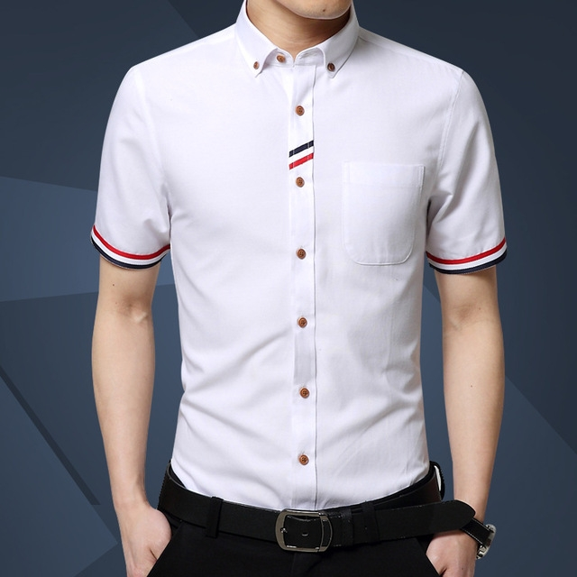 8e8740d5d961e Free Shipping Men Shirt short Sleeve Brand Business Casual Oxford Slim Fit  Shirts white xl
