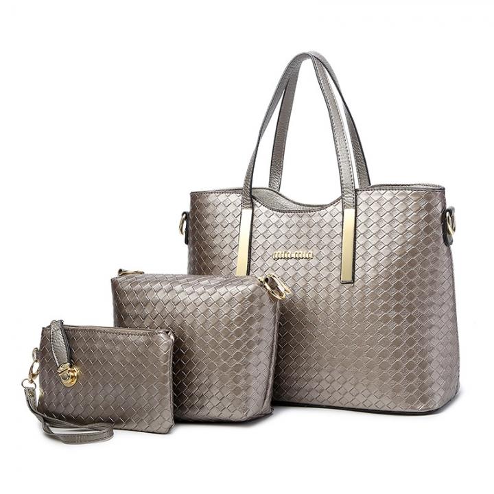 20599cac59 Women s fashion three-piece suit of high quality leather leisure handbag  women messenger bag gray