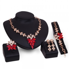 Fashion new imitated crystal pendant jewelry sets simple sweet necklace earrings bracelet rings set Red as picture