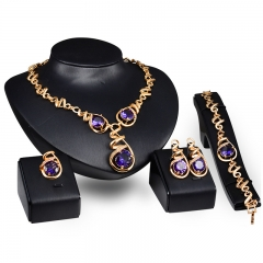 New fashion imitated purple gem pendant alloy jewelry set simple necklace earrings bracelet ring set as picture as picture