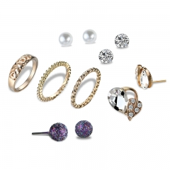 Retro fashionable imitated pearl diamond earrings rings simple elegant sweet lovely jewelry set as picture as picture