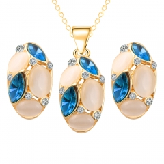 Fashion Elegant Jewelry Set Imitated Crystal Necklace Stud Earrings Set Oval Necklace and Earrings blue as picture