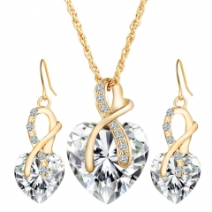 Fashion high-end luxury heart-shaped jewelry set imitated crystal zircon earrings necklace set white as picture