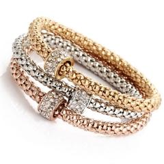 Fashion elegant bracelet imitated diamond bracelet  elastic bracelet three color a set as picture as picture