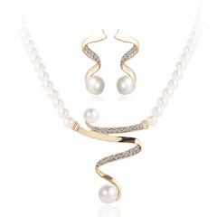 Fashion Elegant Jewelry Set Imitated Crystal Diamond Pearl Pendant Necklace Earrings Set Gold as picture