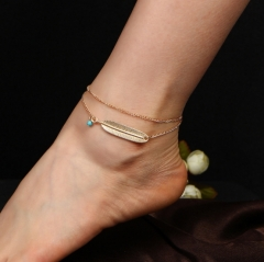 Bohemian Style Anklets Retro Multilayer Anklets Imitated Blue Turquoise Feather Foot Chain gold as picture