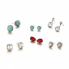 Fashion retro set of earrings simple elegant multi-shaped 6 pairs of earrings/set as picture as picture