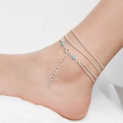 New fashion multi-layer foot chain simple elegant retro anklets silver one size